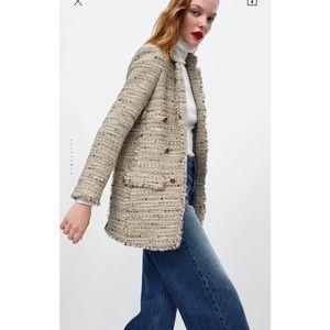 Zara Beige Tweed Blazer - Timeless